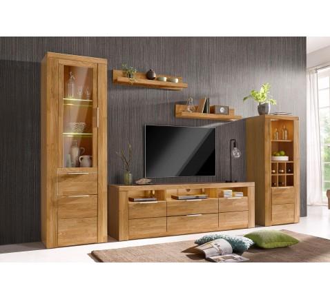 Wohnwand Zara 5-tlg Wohnzimmer Set Schrankwand Eiche teilmassiv Kommode Woltra
