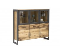 Vitrine Highboard Janne Regal Alteiche Metall graphitgrau B.157cm Schrank