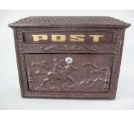Briefkasten Wandbriefkasten rustikal braun Antik Stil Alu Guß H.29x B.37cm