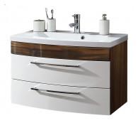 Waschplatz Rima 80 cm breit weiß Walnuss