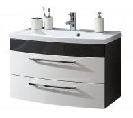 Waschplatz Rima 100cm breit anthrazit/weiß Mineralgußbecken