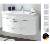 Waschplatz Waschtisch Rima 100cm Hochglanz weiß Mineralgußbecken