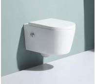 Wand Hänge WC Spülrandlos Taharet Dusch-WC Toilette Softclose inkl. Armatur Nanobeschichtung mit Bidet-funktion Intimdusche 54x36cm