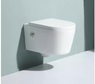 Wand Hänge WC Spülrandlos Taharet Dusch-WC Toilette Kalt & Warm Wasser Armatur Nanobeschichtung mit Bidet-funktion Intimdusche 54x36cm