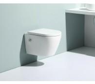 Wand Hänge WC Spülrandlos Taharet Dusch-WC Toilette Kalt & Warm Wasser Armatur Nanobeschichtung mit Bidet-funktion Intimdusche 52x36cm