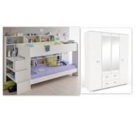 Hochbett Jugendbett Kinderbett Kleiderschrank Kinderzimmer Set Bibop 52