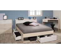 Parisot Schlafzimmer-Set Most 59 Schreibtisch,Kommode,Bett 140x200cm Akazie-Weiß