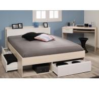 Parisot Schlafzimmer-Set Most 61 Schreibtisch, Bett 140x200cm Akazie-Weiß