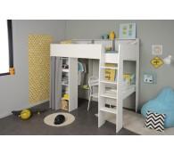 Hochbett 90x200cm weiß grau Schreibtisch Kleiderstange Regale Vorhang Taylor 11
