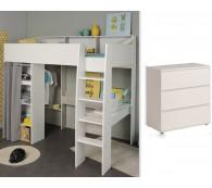 Hochbett mit Kommode 90x200cm weiß grau Schreibtisch Regale Taylor 12