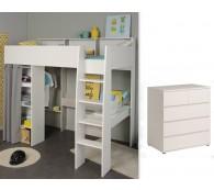Hochbett mit Kommode 90x200cm weiß grau Schreibtisch Regale Taylor 13