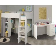 Hochbett mit Schreibtisch 90x200cm weiß grau Schreibtisch Regale Taylor 14