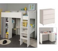 Hochbett mit Schreibtisch und Kommode 90x200cm weiß grau Taylor 15