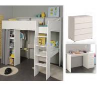 Hochbett mit Schreibtisch und Kommode 90x200cm weiß grau Taylor 16